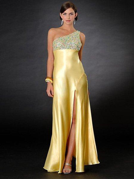 Hot Sale Elegant Daffodil One Shoulder Evening Dress Formal Cocktail Prom Bridesmaid Wedding