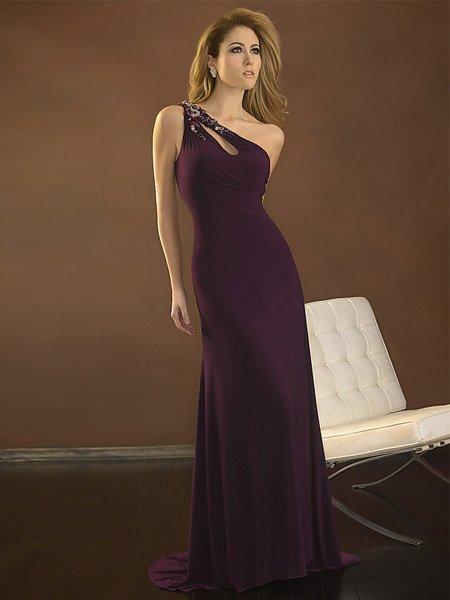 Hot Sale Elegant Grape One Strap Tube Top Evening Dress Formal Cocktail Prom Bridesmaid Wedding