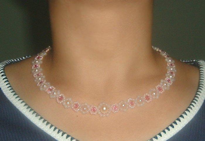 Elegant Fresh Water Pearl,Rose Quartz Necklace