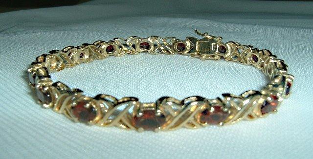 Elegant Garnet Bracelet-gold over sterling silver bracelet