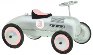 Morgan Cycle Pink & Silver Racing Car Scootster Scoot Along Ride on Car For Girls