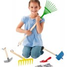 Kid Sized Garden Tools Set Stamped Steel Made With Wood Handles 6 Pc Age 3 & up