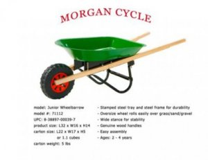 Kid Sized Wheelbarrow Stamped Steel Made Toy With Wood Handles & Rugged Tire Age 3+