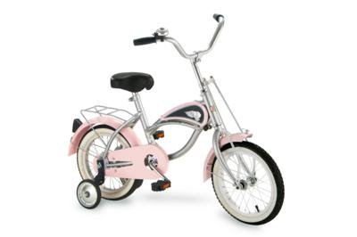 """Morgan Cycle Pink Cruiser Bicycle With Training Wheels 14"""" Ride on Steel Toy"""