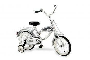 """Morgan Cycle Silver Cruiser Bicycle With Training Wheels 14"""" Ride on Steel Toy"""