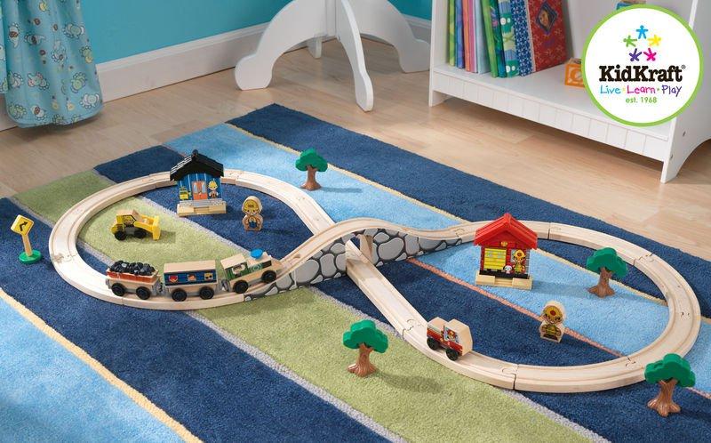 Kidkraft Figure 8 Train Set 38 Pieces Wooden Compatible w Brio Playset For Kids  17822