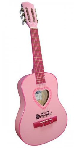 Schoenhut Pink  Acoustic Guitar & Carrying Bag W 6 Steel Strings 605p