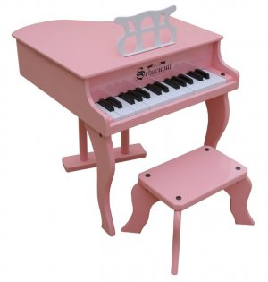 Girls Pink Fancy Baby Grand Piano & Bench & Learning System By Schoenhut 3005P