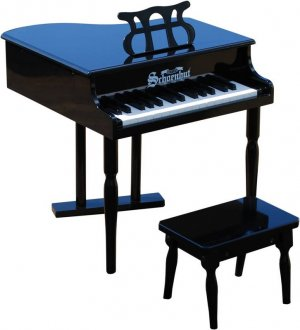 Kids Black Baby Grand Piano & Bench & Learning System By Schoenhut 309B