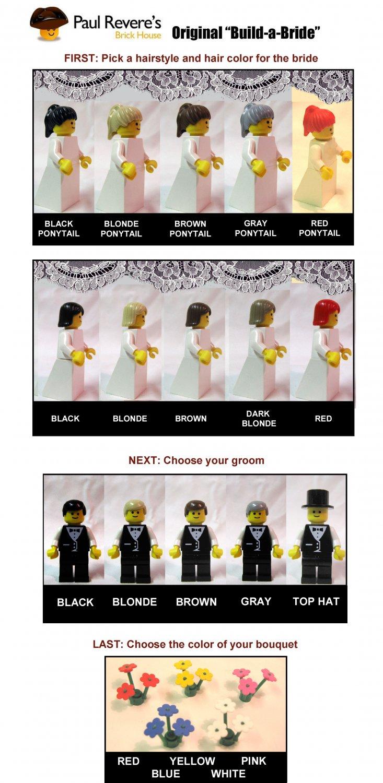 Lego BRIDE & GROOM Wedding Minifig Red Hair Shoulder Length