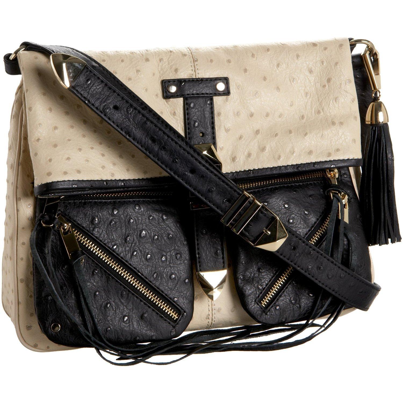 $495 REBECCA MINKOFF Main Squeeze Foldover Bag in W/B Ostrich NWT