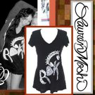 "Lauren Moshi ROCK Swing V-neck Tee in Black ""M"" NEW"