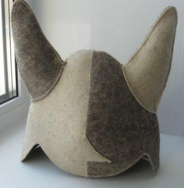 "Wool HAT for SAUNA BANYA ""Viking"" Bath Steam 100% sheep bathhouse steam FELT CAP"