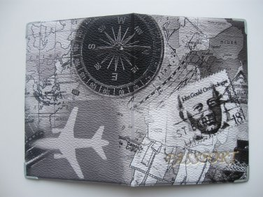 Vinyl Passport Cover / abstraction compass / Personal Travel Case Holder / NEW / #4