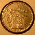 SPAIN 1957 (61) 5 Peseta -- KM786 -- lusterous AU - KEY DATE