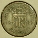 GREAT BRITAIN 1939 Silver 6 Pence - KM852- FINE 3D