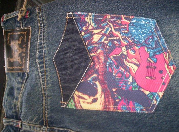 Inkslingers Evil Guitar Tatto Art Jeans