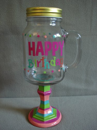 Glass Drink Mug On Pedestal With Handle Happy Birthday NEW(2)