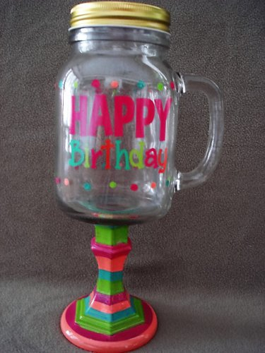 Glass Drink Mug On Pedestal With Handle Happy Birthday NEW(4)