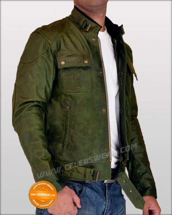 Wanted Wesley Gibson Real Olive Green Leather Jacket
