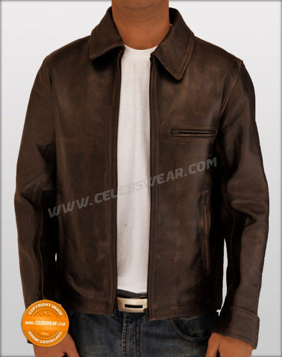 Surrogates Bruce Wills Brown Distressed Leather Jacket