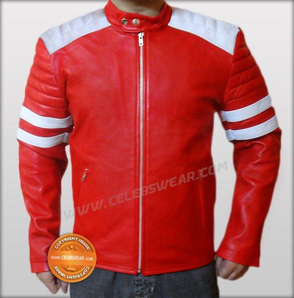 Mayhem Brad Pitt Fight Club Red Biker Leather Jacket