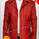 Brad Pitt Fight Club Red Lambskin Leather Jacket / Coat