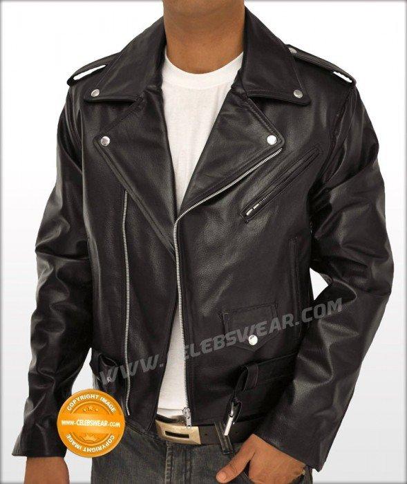 Arnold Terminator Heavy Cowhide Black Motorcycle Jacket