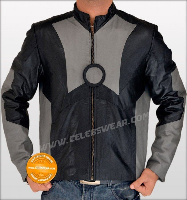 Tony Stark Iron Man 2 Black and Grey Leather Jacket