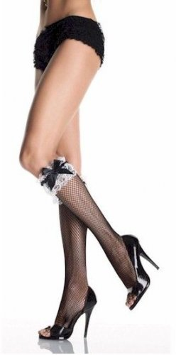 Black & White Ruffle Knee Highs