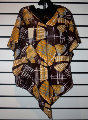 Brown African Print Pointy Bottom Top