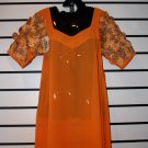 Orange Chiffon Short Gown