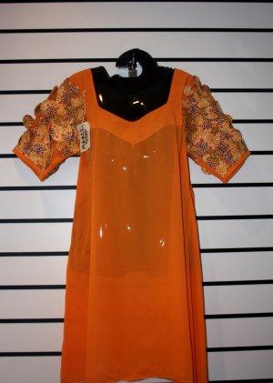 Orange Chiffon Short Gown