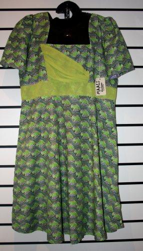 Green Chiffon/Ankara Mix Short Gown
