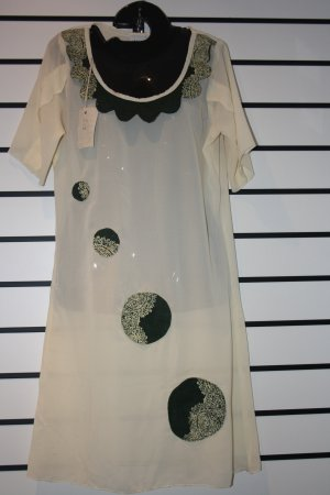 Cream and Green Chiffon Short Gown