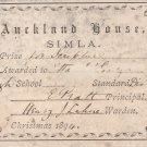 AUCKLAND HOUSE SIMLA , HP, INDIA 1894 BRITISH INDIA SCHOOL LABEL