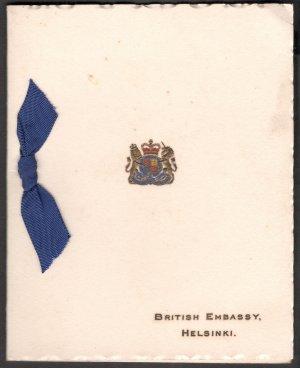 BRITISH EMBASSY ,HELSINKI CHRISTMAS GREETINGS  USED GREETING CARD RARE VINTAGE