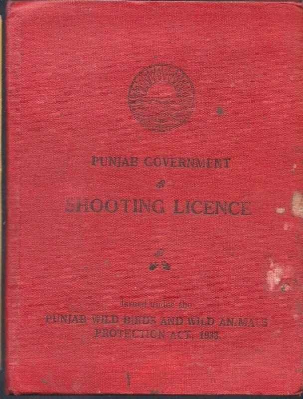 VINTAGE BRITISH INDIA 1945 SHOOTING LICENCE RARE