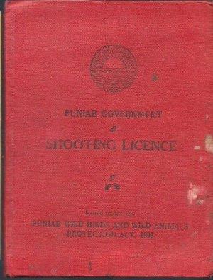 VINTAGE BRITISH INDIA 1945 SHOOTING LICENCE RARE