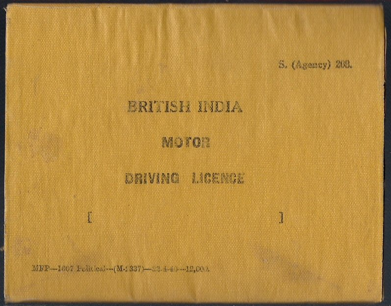 VINTAGE BRITISH INDIA 1940 MOTOR DRIVING LICENCE