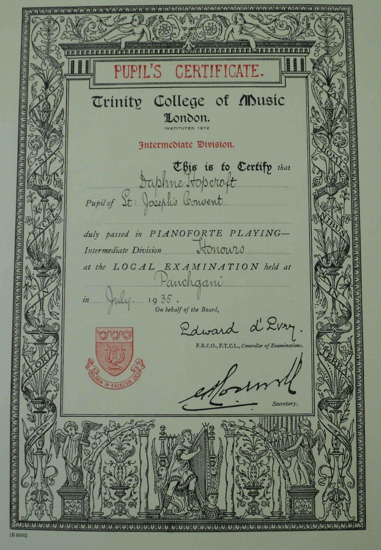 1935 BRITISH INDIA TRINITY COLLEGE OF LONDON MUSIC CERT