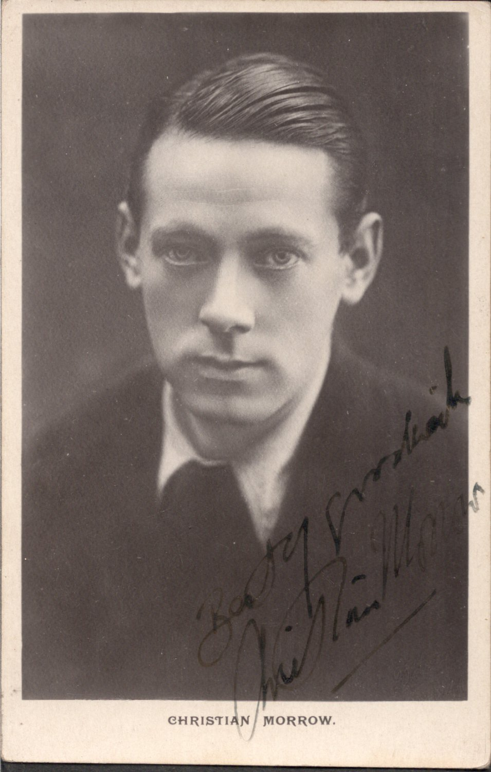 RARE SIGNED LESSER KNOWN BRITISH THEATER ARTIST CHRISTIAN MORROW PICTURE POSTCARD 1920'S