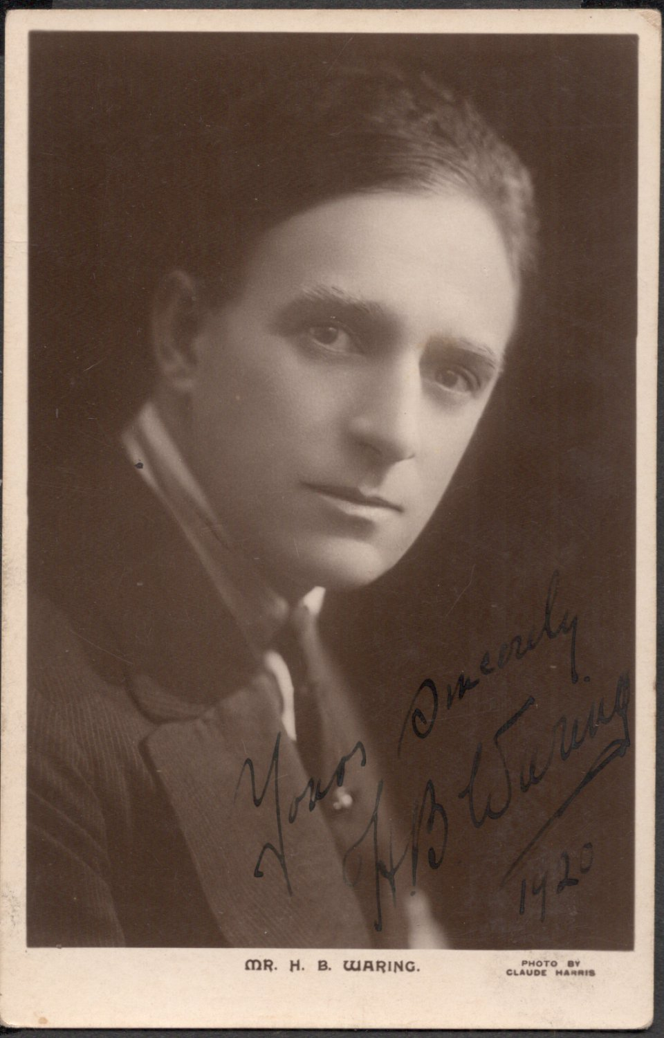 SIGNED MR H. B. WARRING PICTURE POSTCARD 1920'S