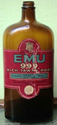RARE VINTAGE - EMU 999 PORT WINE VINTAGE EMPTY BOTTLE