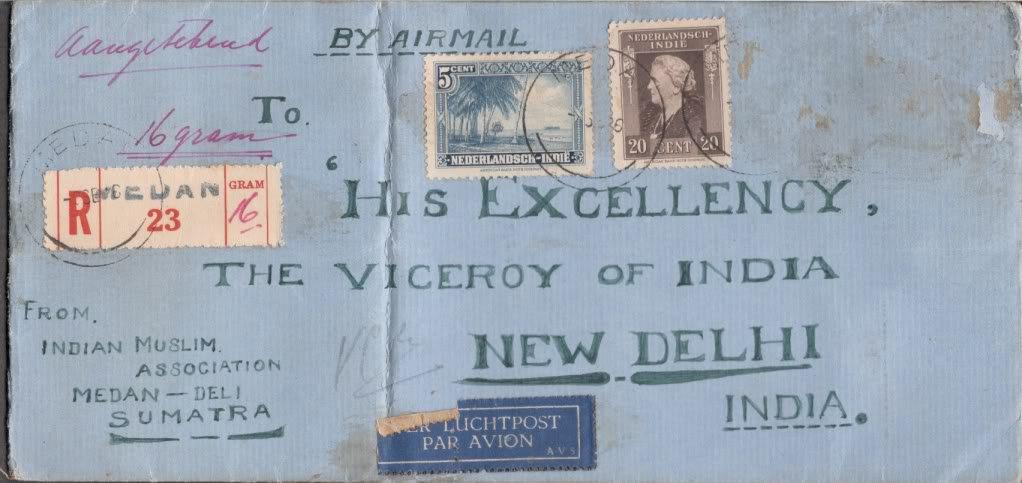 1946 Cover Sumatra Muslim Association Addressed to Viceroy of India New Delhi