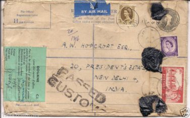 Custom Passed airmail Wax Triangle Sealed to Presidents Estate New Delhi