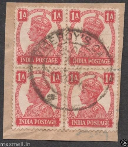 British India Viceroys Camp PO 1940's  - Postal mark on Stamp piece of paper