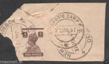 British India Viceroys Camp PO 1947  - Postal mark on piece