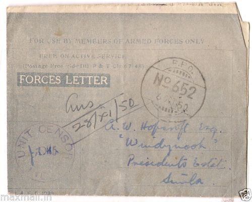 Handwritten Forces Letter FPO 652 Unit Sensor  1950 to Presidents estate Simla