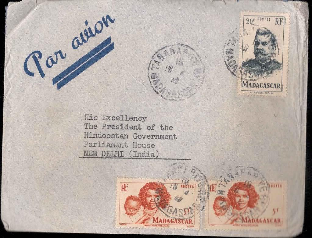 Viceroy Camp PO 26th Aug 1947 - Postal mark Cover Madagascar to President India